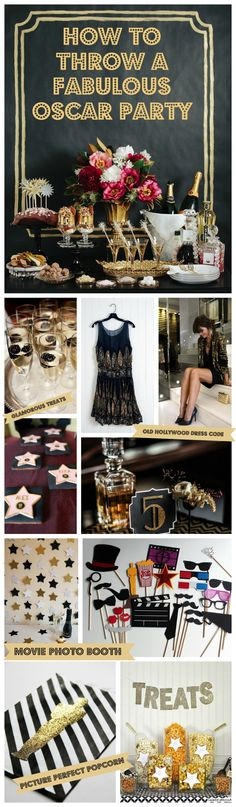 Inspiration + Events: How to Throw the Ultimate Oscar Party * Academy Awards 2014 * #oscars2014 * Party Ideas