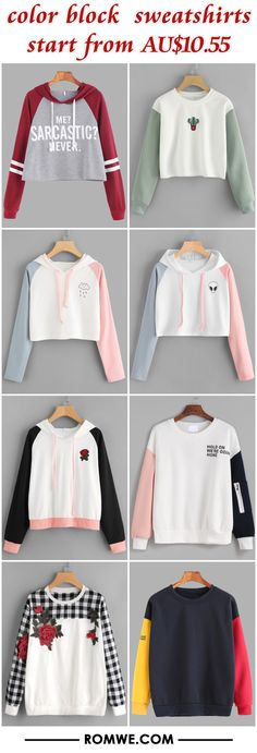 color block sweatshirts from AU$10.55