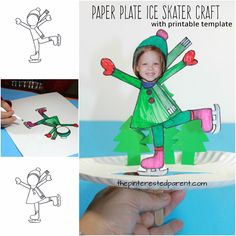Interactive paper plate ice skating craft with boy and girl printable templates - winter and Christmas arts and crafts for kids #artsandcraftsforkidswithpaper,