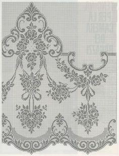 The Cross Stitch Guild - Stitc Filet Crochet Charts, Crochet Doily Patterns, Crochet Borders, Crochet Cross, Crochet Home, Thread Crochet, Knit Crochet, Border Embroidery Designs, Cross Stitch Embroidery