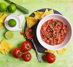 Make this tasty salsa in just 5 minutes with tomatoes, onion, garlic, lime, coriander and white wine vinegar. Recipe by BBC Good Food member Oli Wilson-Nunn Bbc Good Food Recipes, New Recipes, Vegetarian Recipes, Cooking Recipes, Healthy Recipes, Savoury Recipes, Salad Recipes, Recipies, Healthy Dips