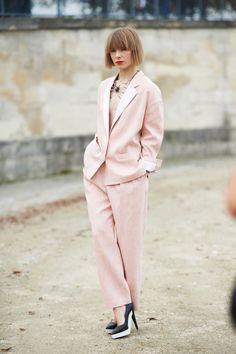 Street Chic: Paris Fashion Week - powder pink pantsuit