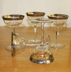 Gorgeous Vintage, Set of 5, Glastonbury - Lotus, Minton, Optic, Platinum Encrusted, Champagne Glasses