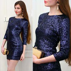Blue, glitter dress