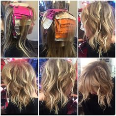 FORMULA 1. Orange foils: 20 vol 2. Pink foils: 40 vol 3. Silver foils: dia richesse low lights Base to Mids 7n+ 7.30< 9 vol Mids to ends 8.30< 9vol 4. Then hand painted the tips (balayage) 40vol, I just left it on for 5 min 5. Rinse then apply 9NB+shades EQ DEVELOPER for 5 min at the root to blend her highlight.