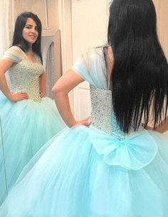 Blue Tulle Beaded Quinceanera Cap Sleeves Beaded Light Blue Birthday Dress Formal Prom Party Dance Ball Gown 2017