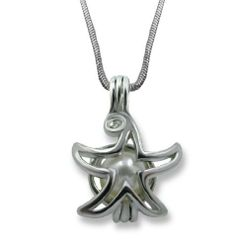 "Solid Sterling Silver Star Fish Genuine Wish Pearl in Oyster Pendant Necklace 18"" Chain CoolRings. $49.99. Genuine Pearl Inside Oyster.. Cage size 20mm x15mm including bail. Solid Sterling Silver Star Shape Cage. 18"" Sterling Silver Box Chain. Perfect Gift For Any Occasion"
