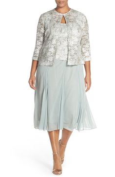 Tea Length Lace & Chiffon Dress with Jacket by Alex Evenings | Nordstrom #sage #dress