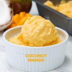 Healthy Frozen Yogurt, Frozen Greek Yogurt, Frozen Yogurt Recipes, Frozen Desserts, Mango Desserts, Healthy Desserts, Healthy Recipes, Healthy Recipe Videos, Healthy Meals