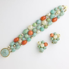 Hattie Carnegie vintage jewelry - coral and turquoise glass bead bracelet and earrings