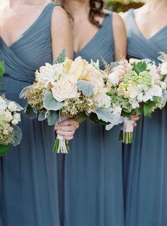 Bridesmaids in grayish blue