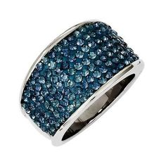 Stainless Steel Blue Pave  Crystal Ring $54.95