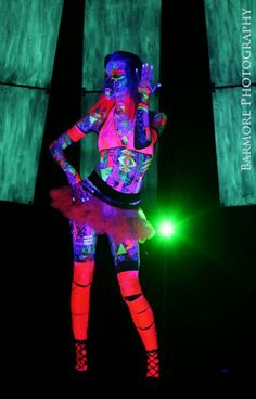 TRIXY XCHANGE  Uv Pink Leggings Uv Pink Leg Cut Out Leggings Slashed Leggings Uv Leggings Glow in the Dark Uv Clothing Burning Man by TrixyXchange, $32.00