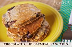 Chocolate Chip Oatmeal Pancakes from Once A Month Mom