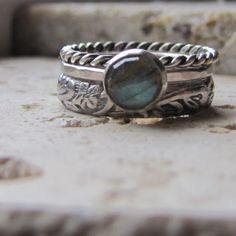 Stacking Rings Engagement Ring Sterling Silver and Rose Cut Labradorite Gemstone Ring