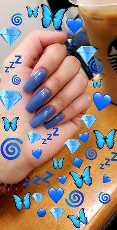Yahh blue is my fav colour Emoji Wallpaper Iphone, Cute Emoji Wallpaper, Aesthetic Iphone Wallpaper, Emoji Tumblr, Nails Tumblr, Images Emoji, Emoji Pictures, Cute Nails, Pretty Nails