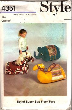 1970s Style 4351 Super Size Floor Toys Pattern HASSOCK Elephant Horse Camel Stuffed Animal Pattern UNCUT 32 - 36 Inch Vintage Sewing Pattern