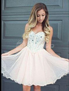 AHC173 Sweetheart Neck Beaded Bodice Champagne Homecoming Dress Short Prom