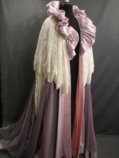 Women's 19th Century lavender and pink taffeta silk cream lace Dressing Gown