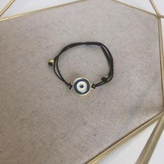 Gold and Blue Evil Eye // Adjustable Bracelet Diy Choker, Leather Choker Necklace, Beaded Choker Necklace, Evil Eye Necklace, Evil Eye Bracelet, Adjustable Bracelet, Etsy Jewelry, Etsy Earrings, Group