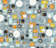 """Mod Kitchen fabric by cynthiafrenette on Spoonflower - custom fabric (""""wallpaper"""" inside the pantry?}"""