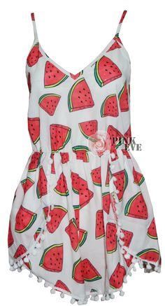 2014 Free shipping Fashion watermelon pattern dot loose change sides  playsuit  Jumpsuit  TB 6163 $20,09