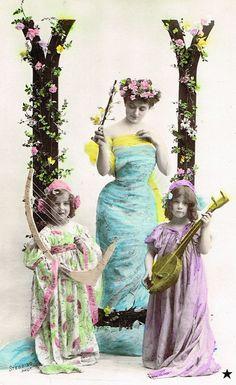 Lot of 3 Vintage 1900s Belle Epoque French Postcards Romantic Alphabet Letters Fantasy Mermaid Nymph with Children by Stebbing Studio Paris
