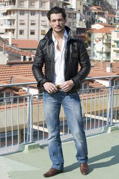 David Gandy FEBRUARY 21 2009 - Sporting an aviator jacket at the Sanremo Song Festival, at which he was a presenter.