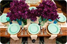 aqua and fuchsia table design