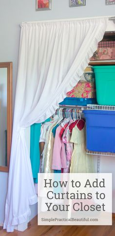 No more sliding closet doors. How to make simple closet curtains from sheets and PVC.