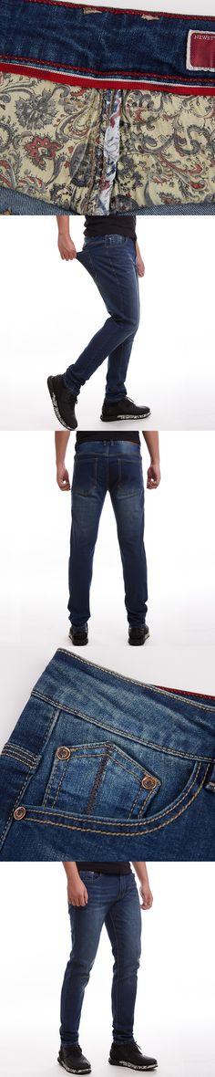 2016 Design Men's Summer Denim Jeans Plus Size Pants Dark Blue Hight Quality Stretched Trousers Big Large Size 40 42 44 46 48