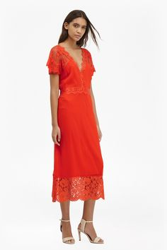 Siena Lace Midi Tea Dress | Dresses | French Connection Usa