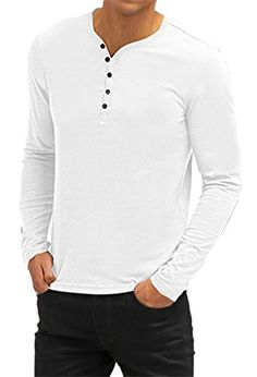 0ab6a597e511 Aiyino Mens Casual V-Neck Button Cuffs Cardigan Long Sleeve T-Shirts