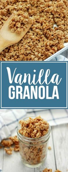Vanilla Granola Recipe - Easy and Delicious! - One Sweet Appetite Homemade Vanilla Granola<br> This fragrant Vanilla Granola is my go-to for a quick breakfast or snack. Enjoy it as-is or use as a starting point for your favorite add-in's! Quick Oat Recipes, Oats Recipes, Fruit Recipes, Drink Recipes, Vegan Granola, Granola Oats, Yogurt And Granola, Chocolate Granola, Clean Eating Snacks