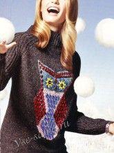 Женский пуловер с совой