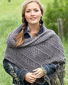 This chevron knit shawl is a fun and entertaining project with macramé-inspired fringe. The perfect size to be cozy and comforting! (Bernat.com)