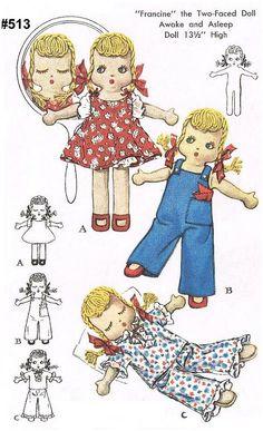 Vintage McCall 1575 Francine Awake Asleep Cloth Doll Pattern with Dress, Overalls, Panties, Pajamas Fabric Doll Pattern, Crochet Doll Pattern, Fabric Dolls, Paper Dolls, Barbie Clothes Patterns, Doll Sewing Patterns, Vintage Sewing Patterns, Clothing Patterns, Crochet Doll Clothes