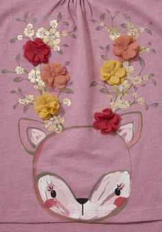 Clothing at Tesco | F&F Deer Corsage Long Sleeve T-Shirt > tops >…