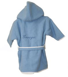 The adorable Personalised Baby Towelling Robe comes in either Pink or Blue and is hand-made using natural linen. It features a a white trim and is lined with luxuriously soft white towelling which makes it comfy and snug.  The Personalised Baby Towelling Robe offers a practical alternative to wrapping baby in a blanket to keep the chill off and it makes a practical baby gift. (http://www.urbanmummy.co.uk/personalised-baby-towelling-robe/)