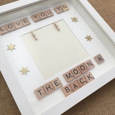 Love you to the moon and back scrabble photo frame, new parent gift, nursery decor, child's room decor, new baby gift Scrabble Letter Crafts, Scrabble Frame, Scrabble Art, Scrabble Tiles, Diy Photo, Cadre Photo Diy, Diy Baby Gifts, Baby Crafts, Crafts For Kids