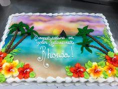 Square Birthday Cake, Birthday Sheet Cakes, Luau Cakes, Beach Cakes, Sheet Cake Designs, Airbrush Cake, Retirement Cakes, Fresh Flower Cake, Luau Birthday