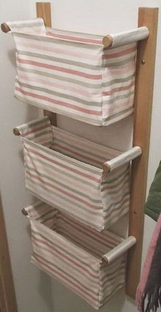 25 Cool DIY Projects And Ideas You Can Do Yourself - Wall hanging storage with 3 IKEA baskets; no instructions on site. Could this be made into a clothes hamper for a small space? Cool Diy Projects, Sewing Projects, Project Ideas, Woodworking Projects, Baby Diy Projects, Woodworking Plans, Home Crafts, Diy Home Decor, Diy Crafts