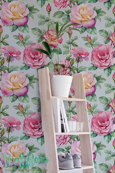 Pink and Yellow Large Rose Wallpaper | Removable Wallpaper | Self Adhesive Wallpaper | Temporary Wallpaper | Wall Sticker | Wall Decal