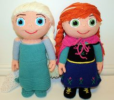 Free Frozen Crochet Patterns Elsa and Anna Dolls