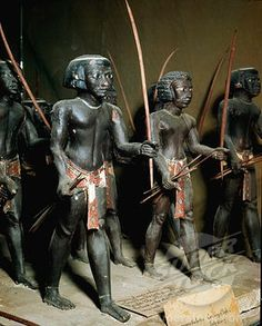 Bowmen archers of the Egyptian army. Tomb of Meketre, Ancient Egypt. Cairo Egyptian museum.
