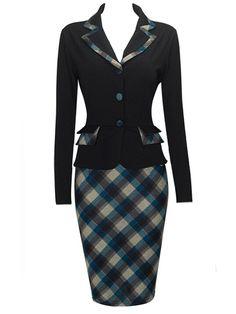 Trendy Lapel Flap Pockets Plaid Fake Two-piece Bodycon-dress Bodycon Dresses from fashionmia.com