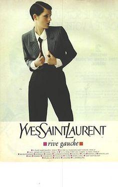 PUBLICITE 1996 YVES SAINT LAURENT haute couture costume femme Vintage Ysl, Mode Vintage, Vintage Fashion, Yves Saint Laurent, 80s Fashion, White Fashion, Look 80s, Like A Sir, Le Smoking