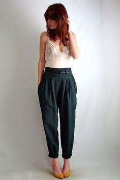 high forest green trousers with yellow shoes