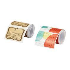 IKEA - HEMSMAK, Zelfklevende etiketten, De verpakking is ook een praktische houder voor de etiketten.De datum is gemakkelijk aan te geven door het jaartal te noteren en de maand en datum te omcirkelen.