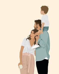 Family Illustration, People Illustration, Portrait Illustration, Cartoon Kunst, Cartoon Art, Caim E Abel, Minimal Art, Arte Indie, Cute Couple Art
